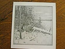 Original 1904 A. B. Frost deer hunting print-men w/rifle/deer in field