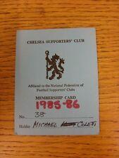 1985/1986 Chelsea: partidarios Tarjeta de Membresía Club (Nº 38). este artículo ha sido yo