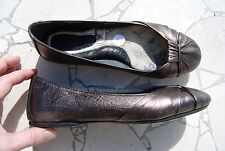 Bronze Brown Leather BORN Flats w/Gathered Folds on Top 7 M
