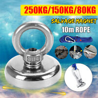 80KG-250KG Salvage Strong Magnet With Hooks Hunting Diving Fishing Recovery 6