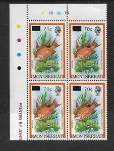 1983 MONTSERRAT - HOGFISH - CORNER BLOCK WITH INSCRIPTIONS - MNH.