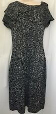 CALVIN KLEIN M Sweater Dress Black White Short Sleeve Stylish Wool Blend Knit