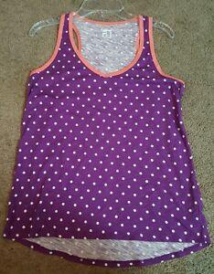 JCP Ladies Sleep Tank Top, Purple w/ White Polka Dots, SM