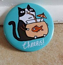 """Magnet Cheers Cat Goldfish Bowl Big 2.25"""" Strong Helps Feral Cat Rescue"""