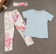 NEW Mariommae Baby Girl 6 Month 3 Piece Blue ROSE Print Pant Shirt Bow SET 6M