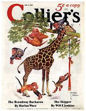 Rare Orig VTG 1935 Lawson Wood Giraffe Collier's Mag Monkey Cover Only Art Print
