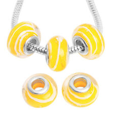 5pcs ON SALE Yellow White Stripes Transparent Charms Lampwork Glass Beads Lots L