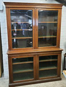 antique,large,edwardian,Elm,glazed,4 door,bookcase,shelves,cabinet,cupboard,felt