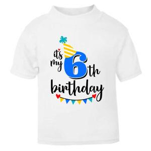 It's My 6th Sixth Six Birthday T-Shirt Childrens Kids T Shirt Boys Cake Smash