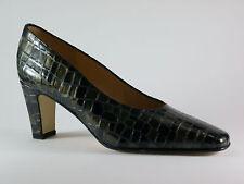 MARCANTONI Damen Schuhe 40 Kroko Lack Schwarz Grün Abendschuhe Pumps NEU