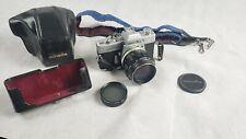 Minolta SRT101 35mm SLR Camera+ hard case+ MC Rokkor-PF 1:1.2 58mm Macro Lens+++