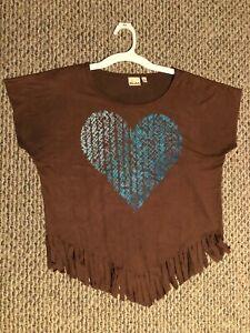 """Girls Mudd  """"Heart"""" Brown Cap Sleeve Shirt Size XL 16"""