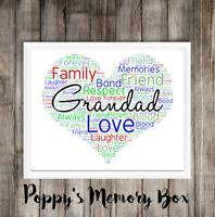 Grandad, Grandpa, Granda Personalised Word Art Birthday Father's Day Gift Print