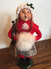 "Byers Choice Caroler ""TRADITIONAL GIRL WITH WHITE FUR MUFF & SKATES"" 1989"