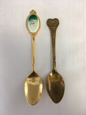 Lot of 2 Vintage Gold-Tone Souvenir Spoons Oneida Egyptian Scarab & Teacup inset