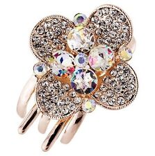 Hair Clip Claw using Swarovski Crystal Hairpin Flower Bridal wedding Gold AB 3