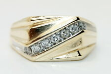 Heavy Men's 14K Multi-Toned Gold 1/4 Ct Diamond Ring .25 Carats Size 12