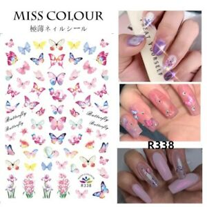 🦋 Butterfly Nail Stickers Waterproof Nail Art Design DIY Decal Pink 🦋 Flower