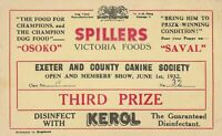 Exeter and County Canine Society Show 1932 Advertisments Third Prize Card  37742