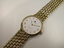 A44 NEW Swiss Movement JB CHAMPION Gold White Dress St. Steel Band WATCH VINTAGE
