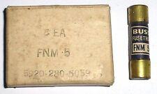 Boite de 5 fusibles FUSETRON BUSS FNM 5 5A 250 volts US 1940's years