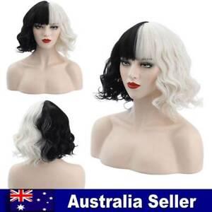 Cruella Wig Cruella de Vil Emma Stone Ms. Spot Short Black White Curly Wigs AU