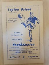 More details for 1960/61 football combination leyton orient reserves v southampton  reserves