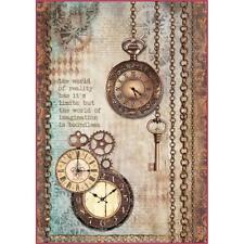 Stamperia de papel de arroz A4-las agujas del reloj reloj y teclas (dfsa 4288) NUEVO