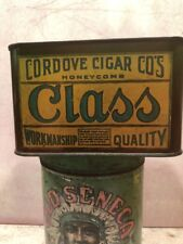 ANTIQUT CLASS TOBACCO TIN RECTANGULAR TIN WITH ROUND LID ON TOP