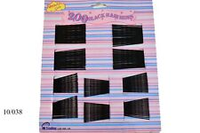 200 BLACK BOBBY HAIR PINS SLIDES GRIPS SALON STYLING CLIPS CLAMPS WAVED STURDY