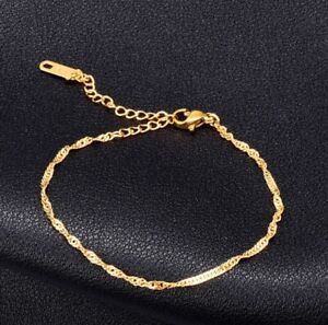 """Women Gold Plated Titanium Stainless Steel Twist Gold Anklet Foot Bracelet 8-10"""""""