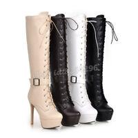 TOP Gr33-45 Kniehohe Stiefel Damen Boots Schnürschuhe High Heels Platform Schuhe