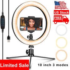 10''Led Ring Light Phone Holder Studio Portable Photo Selfie Makeup Tripod Stand