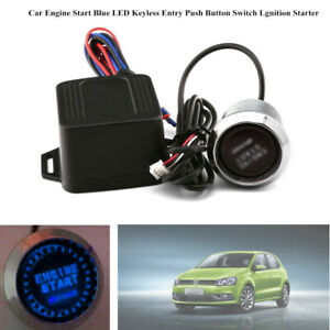 Car Engine Start Blue LED Keyless Entry Push Button Switch Lgnition Starter 12V