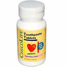 ChildLife, Toothpaste Tablets, Natural Berry Flavor, 500 mg, 60 Tablets