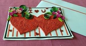 New Handmade Paper Quilling Anniversary Greeting Card