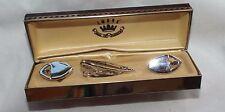 Swank Cuff Links Tie Bar NIB Silvertone Smoke Rhinestone NOS in Original Box