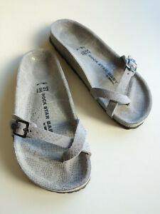 new ROCK STAR BABY - BIRKENSTOCK Leather Sandal PIAZZA EXQ gray US6 EU37 UK4