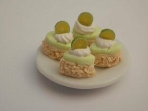 Dolls house food: Plate of key lime  cakes  -By Fran