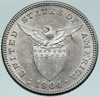 1904 S PHILIPPINES Under US Administration Eagle Silver 20 Centavos Coin i87465