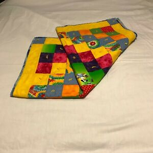 Small yarn tied Baby Quilt bright primary colored 36X36 also as doll quilt