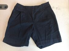 H & M Women's Black Dress Shorts Rolled Cuff Pleated Fronts Size 8