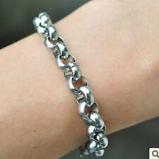 Men's Round Rolo Chain Link Bracelet 8mm 8.26'' Stainless Steel Bracelet Women
