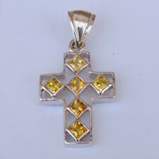 Thai 925 sterling silver yellow sapphire cross pendant collectible beautiful new