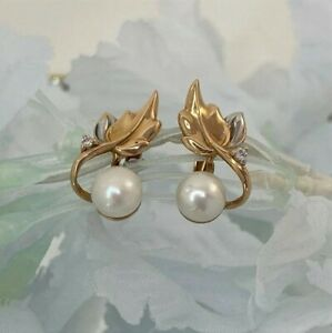 Pearl, 14k Solid rose & white gold dangle leaf EARRINGS with cubic zirconia