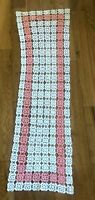 Vintage Hand Crochet Doily Table Runner Dresser Scarf Pink White Rose Pattern