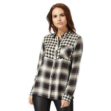 Red Herring Black Patchwork Checked Shirt Size UK 16 RRP £24 TD074 03 O