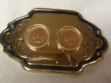 NOS GOLD TONE BRASS PLATED METAL WITH 2 1905 INDIAN HEAD PENNIES BELT BUCKLE