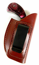 BROWN LEATHER INSIDE PANTS IWB CLIP-ON HOLSTER for NAA 22 MAGNUM MINI REVOLVER