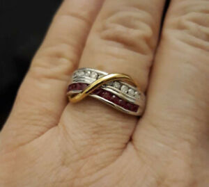 10K Two Tone Gold Ruby and Diamonds 4.22g Size O / 7 Ring RRP $1299